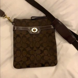 Coach Crossbody Bag in Signature Brown Canvas